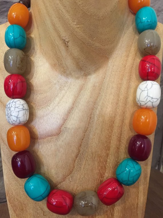 Hand Beaded Big Bead Necklace