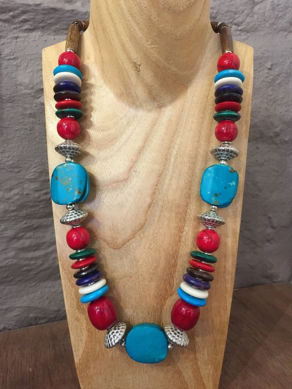 Hand Beaded Colourful Statement Necklace