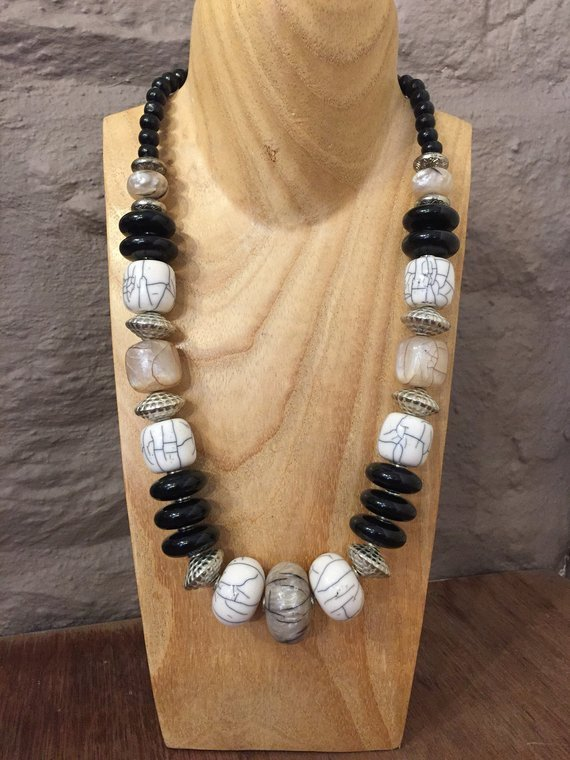 Hand Beaded Crackle Bead Necklace